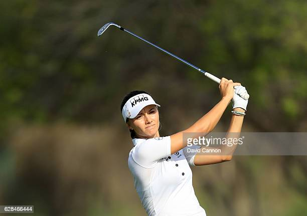 Klara Spilkova of the Czech Republic plays her third shot on the tenth hole during the completion of the first round of the 2016 Omega Dubai Ladies...