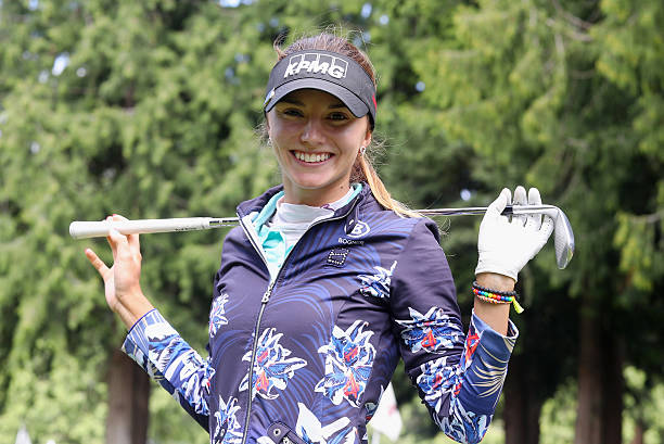Klara Spilkova of the Czech Republic poses on the practice ground during the final round of the KPMG Women's PGA Championship at the Sahalee Country...