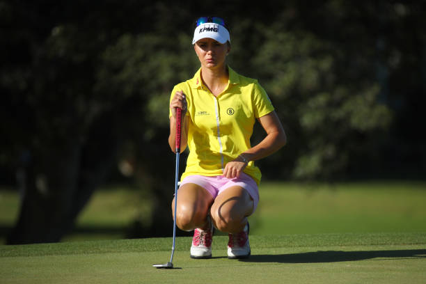 Klara Spilkova of the Czech Republic reads a putt on the 12th green during the second round of the LOTTE Championship on April 19 2019 in Kapolei...