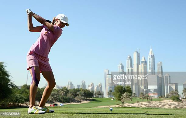 Klara Spilkova of the Czech Republic tees off on the eighth hole during the first round of the Omega Dubai Ladies Maters on the Majlis Course at the...