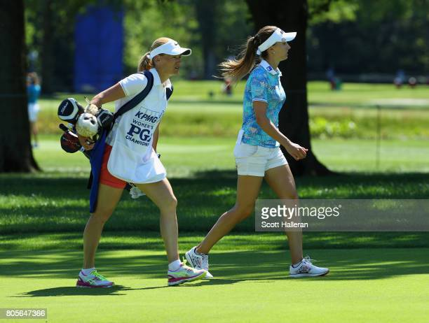 Klara Spilkova of the Czech Republic walks with her caddie on the 18th hole during the final round of the 2017 KPMG Women's PGA Championship at...