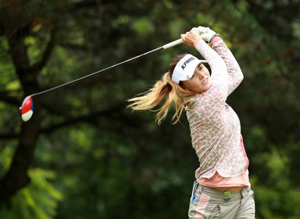 Klara Spilkova of the Czech Republic watches a tee shot during the proam prior to the start of the KPMG Women's PGA Championship at Kemper Lakes Golf...