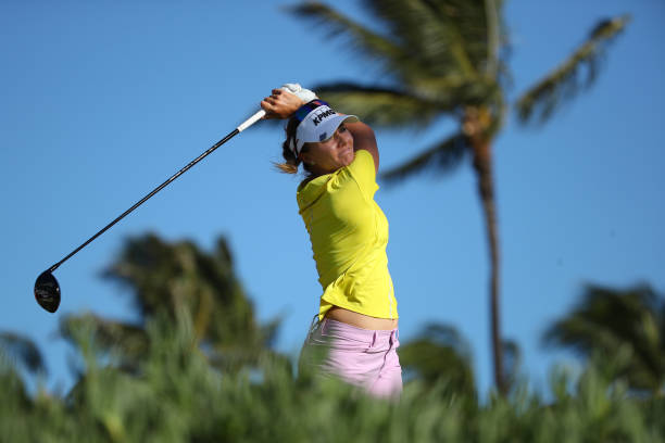 Klara Spilkova of the Czech Republic watches her drive on the 13th hole during the second round of the LOTTE Championship on April 19 2019 in Kapolei...