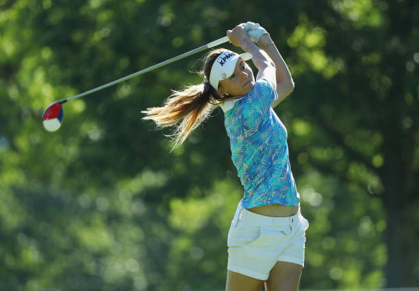 Klara Spilkova of the Czech Republic watches her tee shot on the ninth hole during the final round of the 2017 KPMG Women's PGA Championship at...