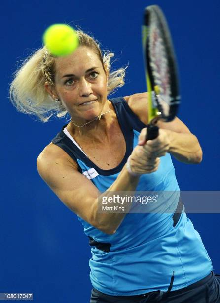Klara Zakopalova of Czech Republic plays a backhand during her quarter final match against Marion Bartoli of France during day five of the Moorilla...