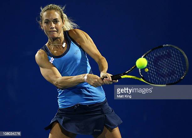 Klara Zakopalova of Czech Republic plays a backhand during her semi final match against Jarmilla Groth of Australia during day six of the Moorilla...