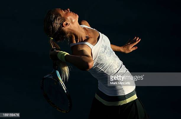 Klara Zakopalova of Czech Republic serves in her second round match against Tsvetana Pironkova of Bulgaria during day five of the Hobart...