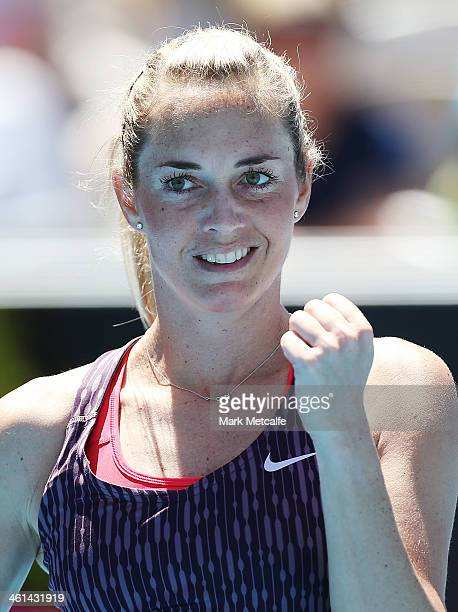 Klara Zakopalova of the Czech Republic celebrates winning match point in her quarter final match against Alison Riske of the USA during day five of...