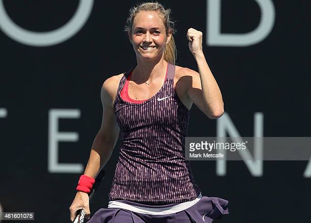 Klara Zakopalova of the Czech Republic celebrates winning match point in her semi final match against Sam Stosur of Australia during day six of the...