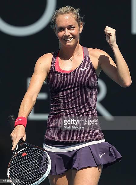Klara Zakopalova of the Czech Republic celebrates winning match point in her semi final match against Sam Stosur of Australia during day six of the...