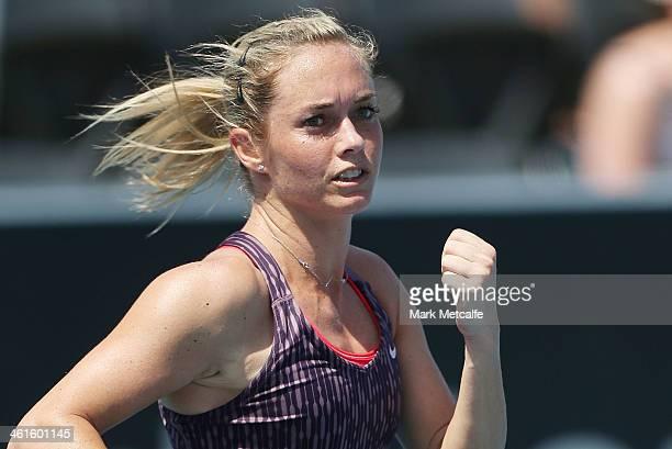Klara Zakopalova of the Czech Republic celebrates winning set point in her semi final match against Sam Stosur of Australia during day six of the...