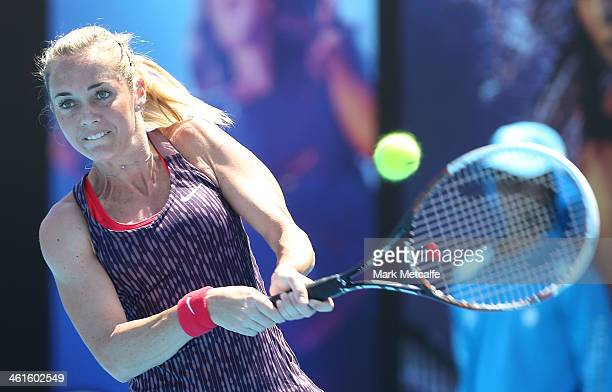 Klara Zakopalova of the Czech Republic hits a backhand in her semi final match against Sam Stosur of Australia during day six of the Moorilla Hobart...