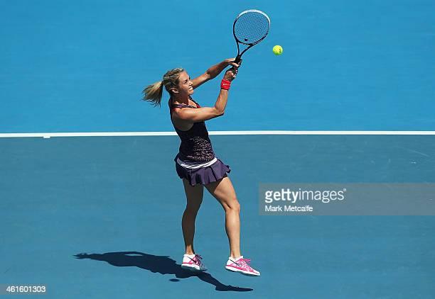 Klara Zakopalova of the Czech Republic hits a backhand volley in her semi final match against Sam Stosur of Australia during day six of the Moorilla...