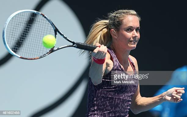 Klara Zakopalova of the Czech Republic hits a forehand in her semi final match against Sam Stosur of Australia during day six of the Moorilla Hobart...