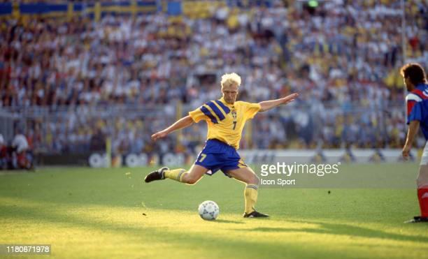 Klas Ingesson of Sweden during the European Championship match between Sweden and France at Rasunda Stadium, Solna, Sweden on 10 June 1992