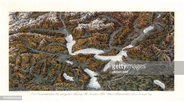 Klassisches Panorama der Schweiz: Der Vierwaldstätter See und gröster Theil der Ur-Kantone, Uri, Schwiz, Unterwalden, Luzern und Zug. Nach der Natur...