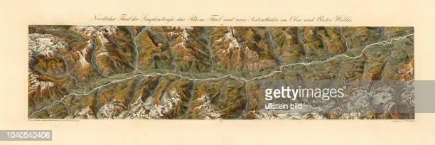 Klassisches Panorama der Schweiz: Nördlicher Theil der Simplonstraße, das Rhone Thal und seine Seitenthäler im Ober und Unter Wallis. Nach der Natur...