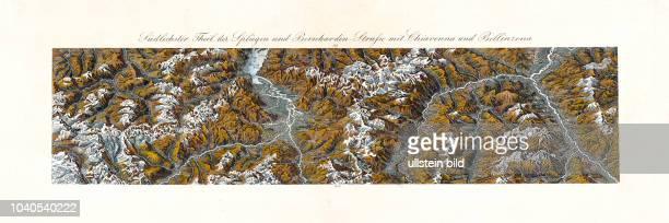 Klassisches Panorama der Schweiz: Südlichster Theil der Splügen und Bernhardiner-Straße mit Chiavenna und Bellinzona. Nach der Natur aufgenommen und...