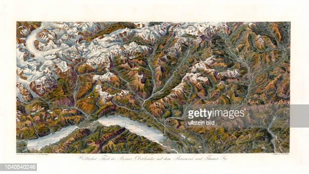 Klassisches Panorama der Schweiz: Westlicher Theil des Berner Oberlandes mit dem Brienzer und Thuner See. Nach der Natur aufgenommen und gezeichnet...