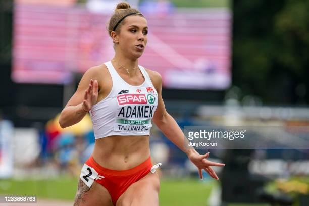 Klaudia Adamek from Poland competing during Women's 100m Round 1 during 2021 European Athletics U23 Championships - Day 1 at Kadriorg Stadium on July...