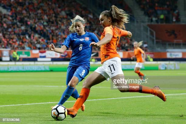 Klaudia Fabova of Slovakia Women Lieke Martens of Holland Women during the World Cup Qualifier Women match between Holland v Slovakia at the Abe...