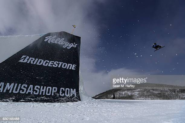 Klaudia Medlova of Slovakia competes in the final round of the FIS Snowboard World Cup 2017 Ladies' Snowboard Big Air during The Toyota US Grand Prix...