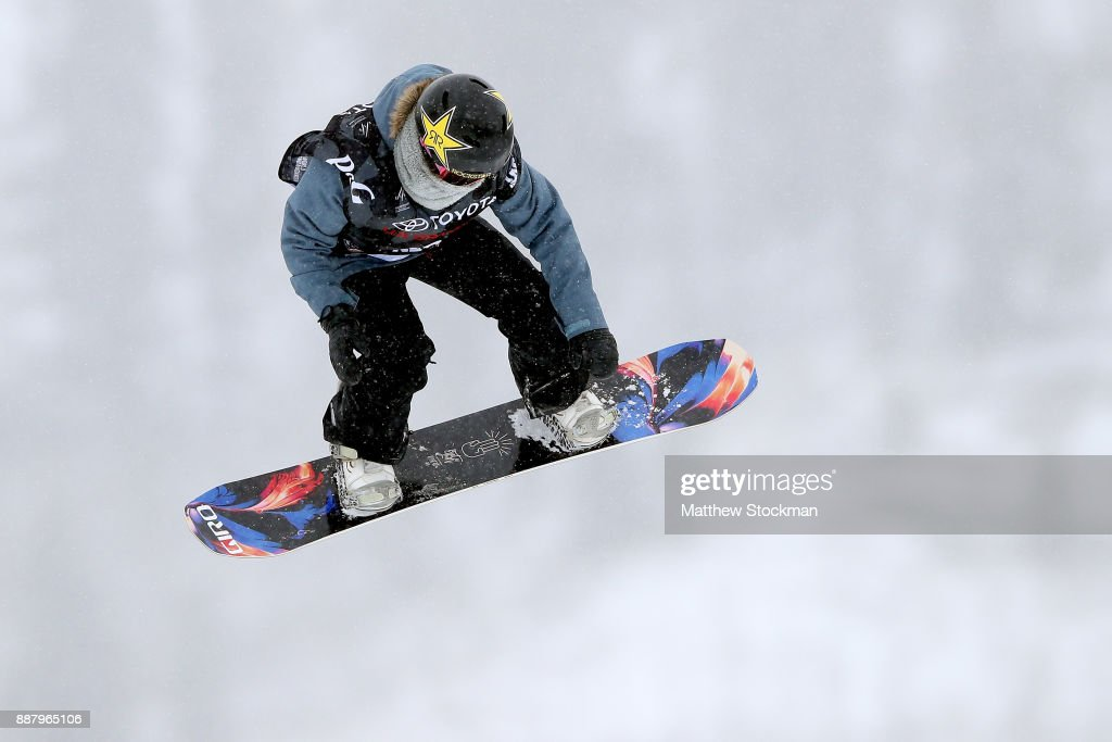 Klaudia Medlova #8 of Slovakia trains for the FIS World Cup 2018 Ladies Snowboard Big Air during the Toyota U.S. Grand Prix on December 7, 2017 in Copper Mountain, Colorado.