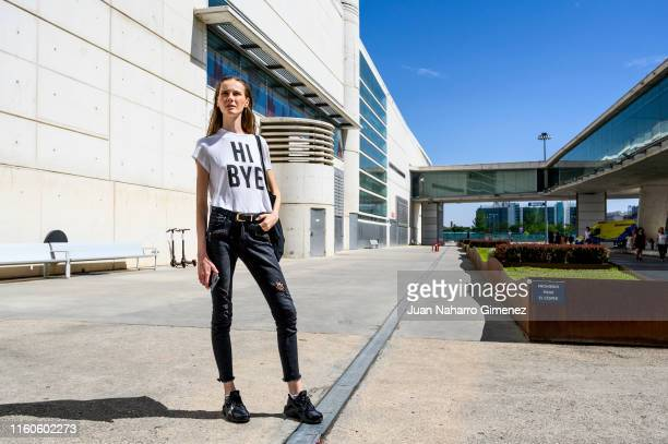 Klaudia wears Nike trainers Gatewear trousers and HM Tshirt during Mercedes Benz Fashion Week Madrid Sprint/Summer 2020 at Ifema on July 07 2019 in...