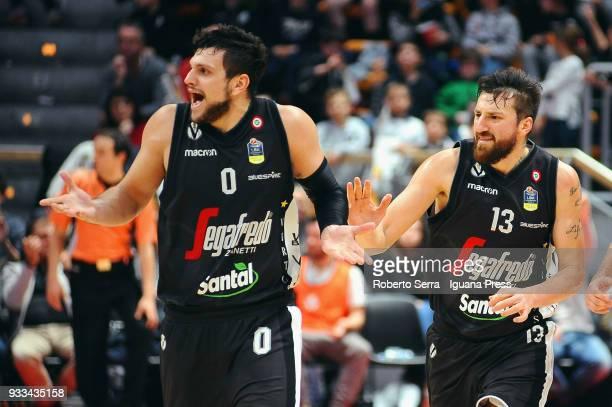 Klaudio Ndoja and Alessandro Gentile of Segafredo protests during the LBA LegaBasket of Serie A match between Virtus Segafredo Bologna and Olimpia...
