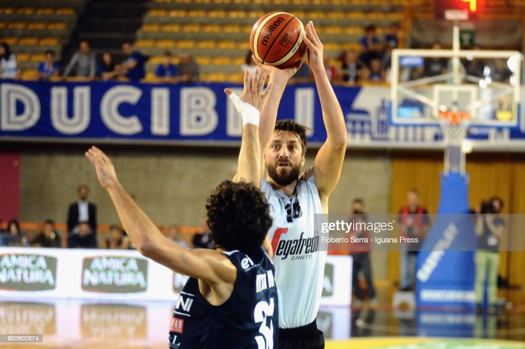 Klaudio Ndoja of Segafredo competes with Michele Vitali of Germani during the match between Virtus Segafredo Bologna and Leonessa Germani Brescia of the Roberto Ferrari Basketball Trophy at PalaGeorge on September 23, 2017 in Montichiari, Italy.