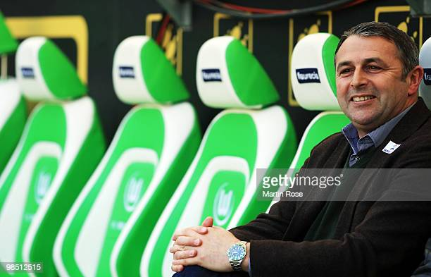 Klaus Allofs manager of Bremen looks on prior to the Bundesliga match between VfL Wolfsburg and SV Werder Bremen at the Volkswagen Arena on April 17...