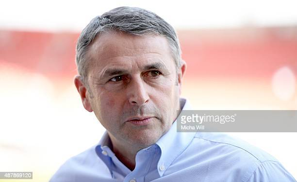 Klaus Allofs manager of Wolfsburg looks on prior to the Bundesliga match between FC Ingolstadt and VfL Wolfsburg at Audi Sportpark on September 12...