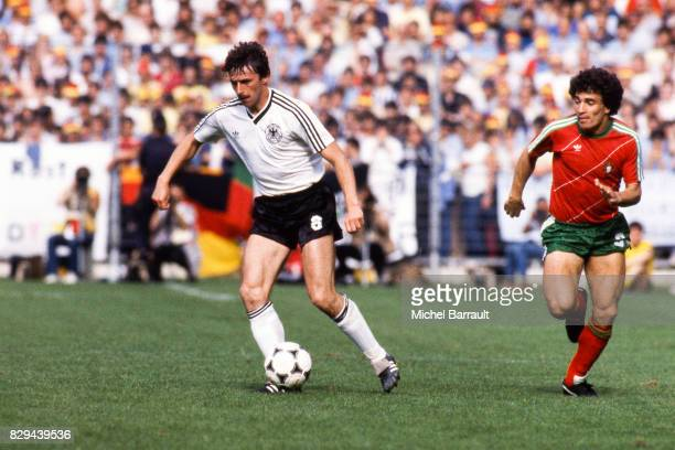 Klaus Allofs of West Germany during the European Championship match between West Germany and Portugal at Meinau Strasbourg Paris on 14th June 1984