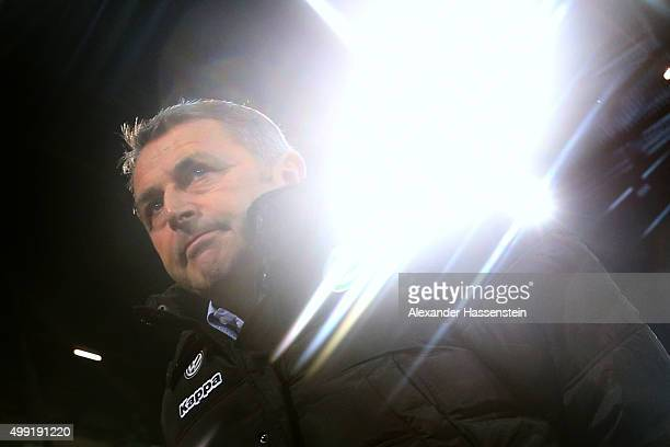 Klaus Allofs sporting manager of Wolfsburg looks on prior to the Bundesliga match between FC Augsburg and VfL Wolfsburg at WWK Arena on November 29...