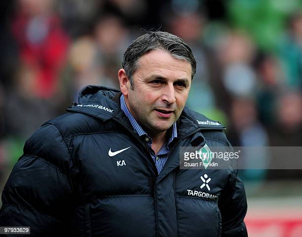 Klaus Allofs Sports Director of Bremen during the Bundesliga match between SV Werder Bremen and VfL Bochum at Weser Stadium on March 20 2010 in...
