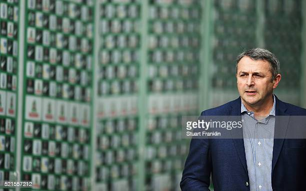 Klaus Allofs sports director of Wolfsburg looks on during the Bundesliga match between Werder Bremen and VfL Wolfsburg at Weserstadion on April 16...