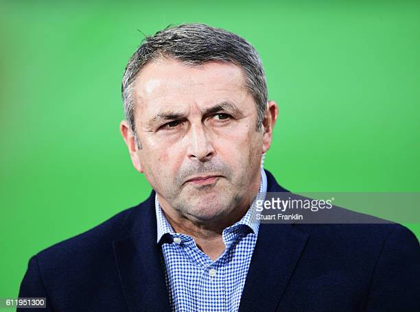 Klaus Allofs sports director of Wolfsburg looks on during the Bundesliga match between VfL Wolfsburg and 1 FSV Mainz 05 at Volkswagen Arena on...
