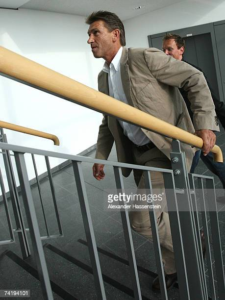 Klaus Augenthaler leaves the pitch after the Bundesliga match between VFL Wolfsburg and Werder Bremen at the Volkswagen Arena on May 19 2007 in...