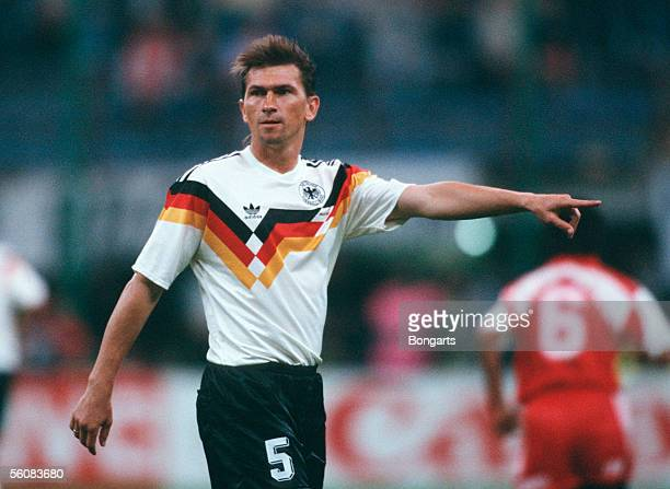 Klaus Augenthaler of Germany gestures during the World Cup group D match between United Arab Emirates and Germany at the Guiseppe Meazza Stadium on...