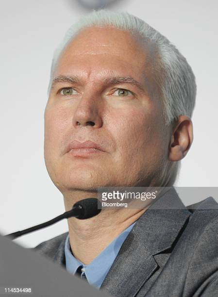 Klaus Biesenbach director of MoMA PS1 listens to a question during a news conference in New York US on Monday May 23 2011 Volkswagen AG and the...