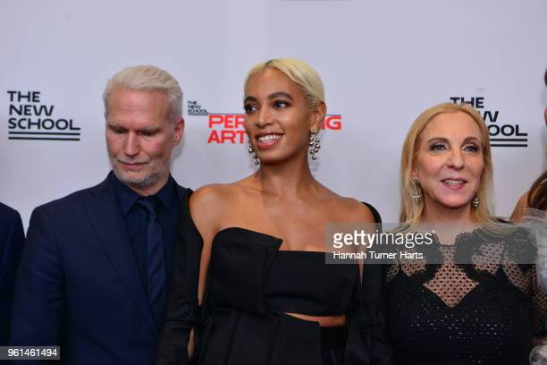 Klaus Biesenbach Solange Knowles and Susan Rockefeller at Pier Sixty at Chelsea Piers on May 21 2018 in New York City