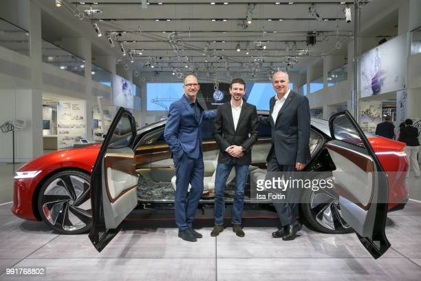 Klaus Bischoff Oliver Berben and Juergen Stackmann during the exhibition preview of 'Driving Vizzions to Reality' at DRIVE Volkswagen Group Forum on...