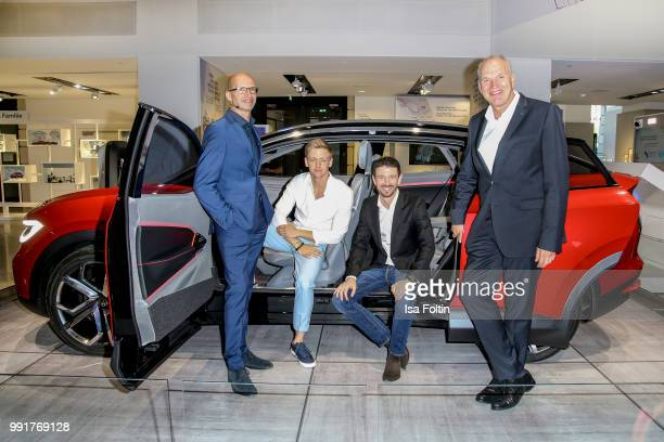 Klaus Bischoff Timur Bartels Oliver Berben and Juergen Stackmann during the exhibition preview of 'Driving Vizzions to Reality' at DRIVE Volkswagen...