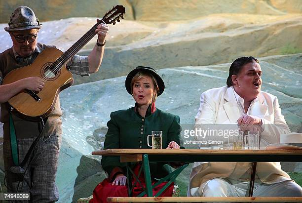 Klaus Brantzen Countess Gloria von Thurn und Taxis and Guenter Alt perform on stage during the rehearsal of the operetta Weisses Roessl prior to the...