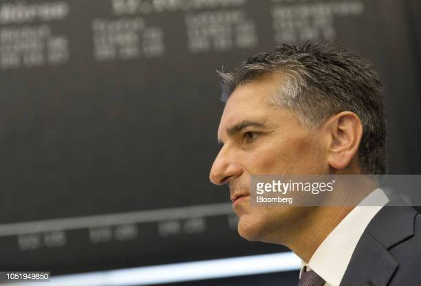 Klaus Deller chief executive officer of KnorrBremse AG stands on the trading floor as the company makes its initial public offering at the Frankfurt...