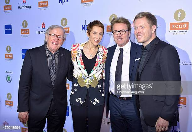 Klaus Doldinger Stacey Kent Bernd Dopp and Nils Wuelker attend the Echo Jazz 2015 at the dockyard of BlohmVoss on May 28 2015 in Hamburg Germany