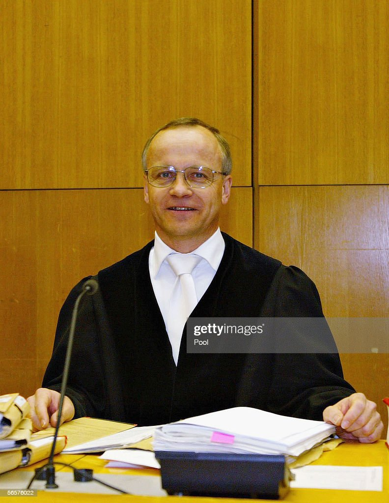 Klaus Drescher, residing judge in Armin Meiwes' retrial attends the court session on January 12, 2006 at the District Court in Frankfurt, Germany. Meiwes was convicted two years ago of killing and eating an apparently willing victim.