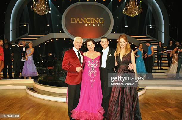 Klaus Eberhartinger Monika Salzer Florian Gschaiderand Mirjam Weichselbraun attend the TV Show 'Dancing Stars' at ORF Centeron April 19 2013 in...