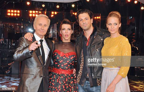 Klaus Eberhartinger, Sabine Petzl, Thomas Kraml and Mirjam Weichselbraun pose during the 'Dancing Stars' TV show in Vienna at ORF Zentrum on April...