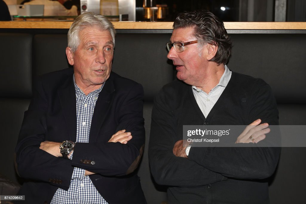 Klaus Fischer and Wilfried Hannes during the Club Of Former National Players Meeting at RheinEnergieStadion on November 14, 2017 in Cologne, Germany.